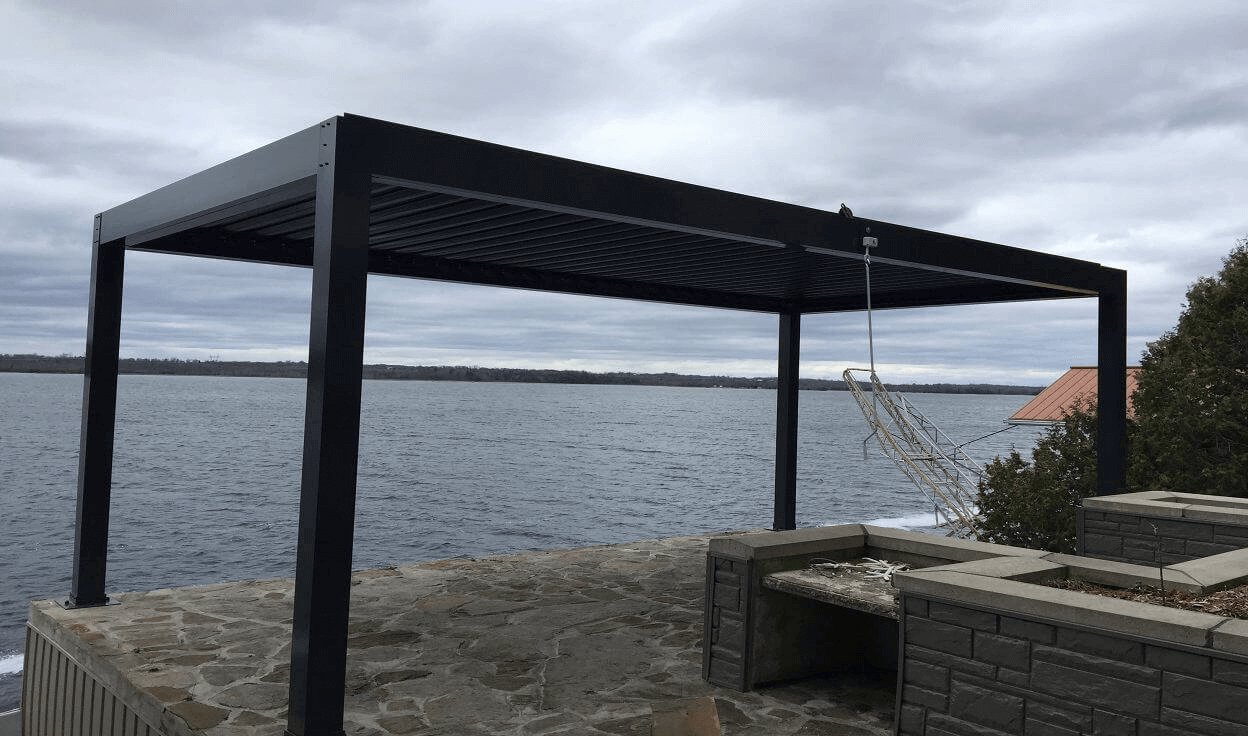 aluminum pergola advanced opening and closing louvered roof system. Black Bedroom Furniture Sets. Home Design Ideas