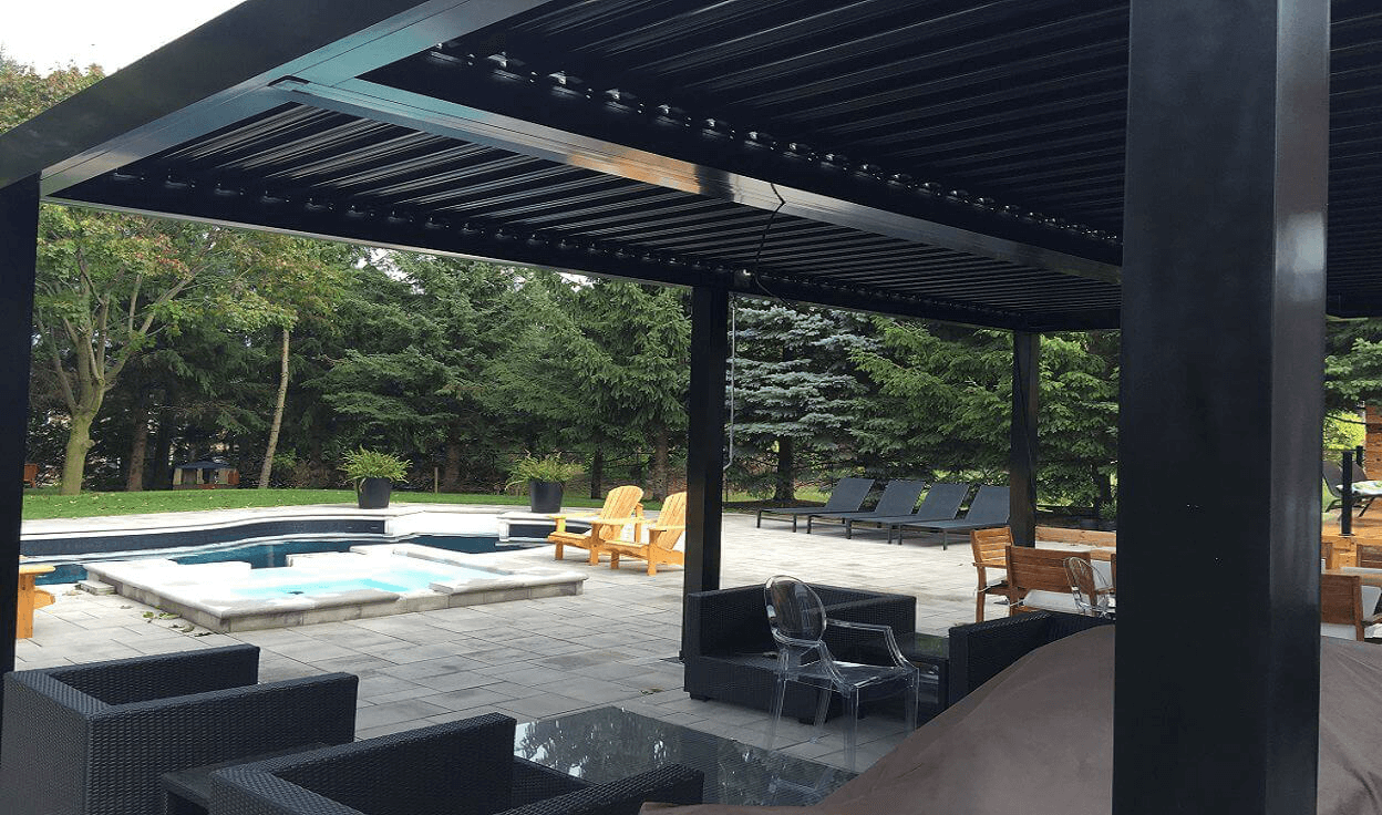 attached long pergola mississauga aluminum pergola. Black Bedroom Furniture Sets. Home Design Ideas